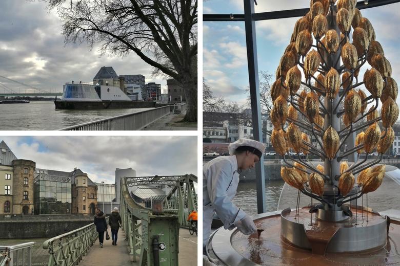 Das Kölner Schokoladenmuseum von außen und innen mit Schokobrunnen