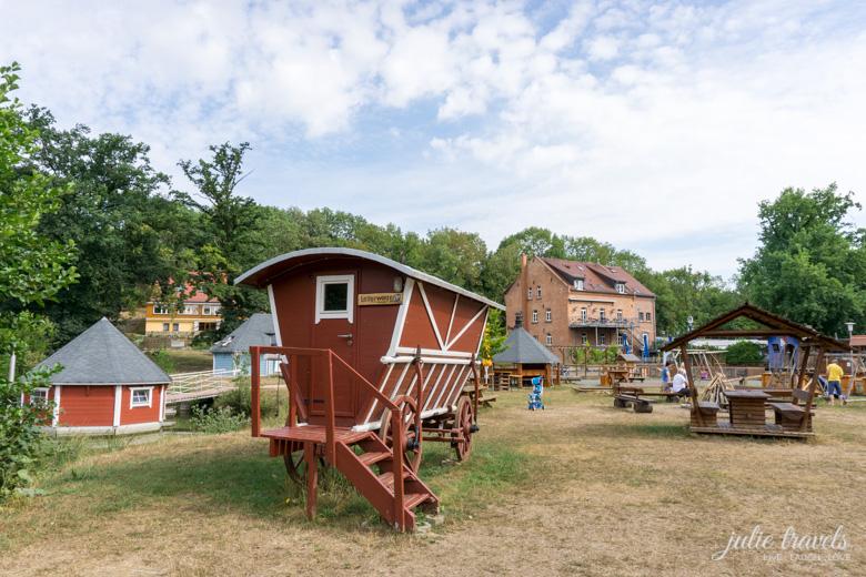 Der Leiterwagen der im Garten der historischen Mühle Eberstedt.