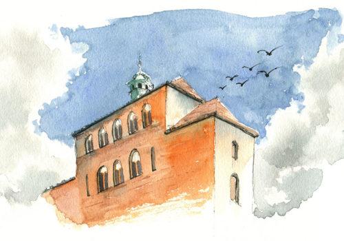 Skizze eines Gebäudes in Havelberg von Kristin im Aquarell Stil