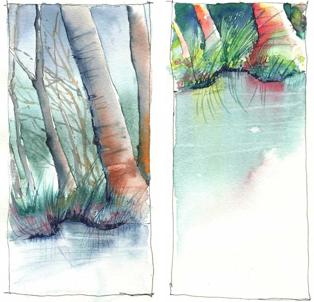 Bäume am See als Aquarell